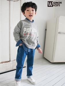蓝角兽男童灰色字母卫衣