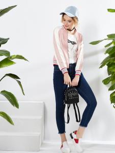 城市衣柜春季粉色休闲棒球外套