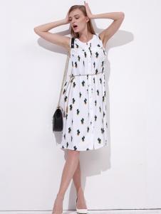 雷索思白色无袖连衣裙