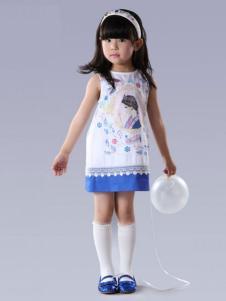 贝甜童装女童无袖涂鸦连衣裙