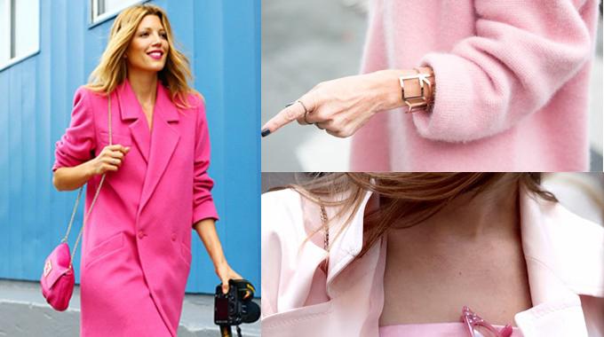 欧美街拍之型人演绎粉色单品合辑
