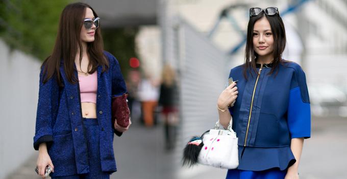 时髦蓝调 巴黎时装周街头蓝精灵尽显魅力