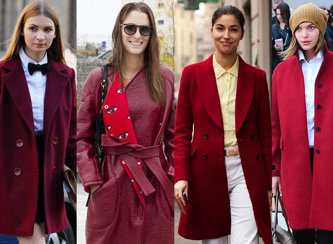欧美型人街拍最IN单品之酒红色大衣