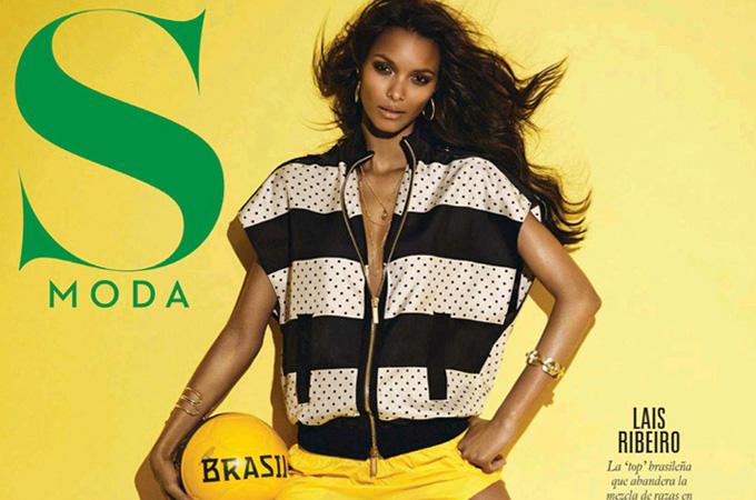 超模Lais Ribeiro 演绎巴西世界杯运动风