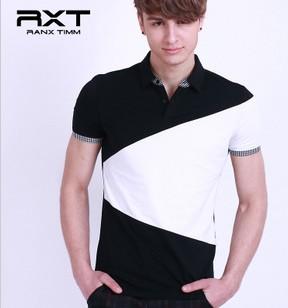 夏季新品拼色黑白经典休闲英伦时尚前卫男款T恤