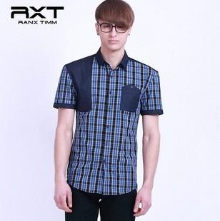 夏季新款双色拼接口袋男款短袖时尚格子衫