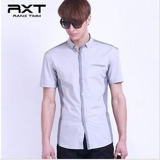 2012夏季休闲英伦修身男款拼接全棉青年新款衬衫