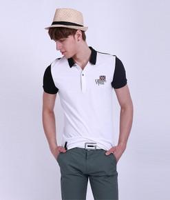 时尚全棉修身黑白拼接英伦纯色男款休闲T恤