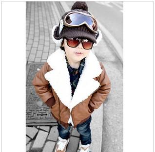2012秋冬韩版男童装风衣 潮品儿童风衣外套小羊皮北极绒仿皮风衣