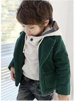 韩版男童外套儿童宝宝外套 秋装2012新款 灯芯绒男童墨绿色外套