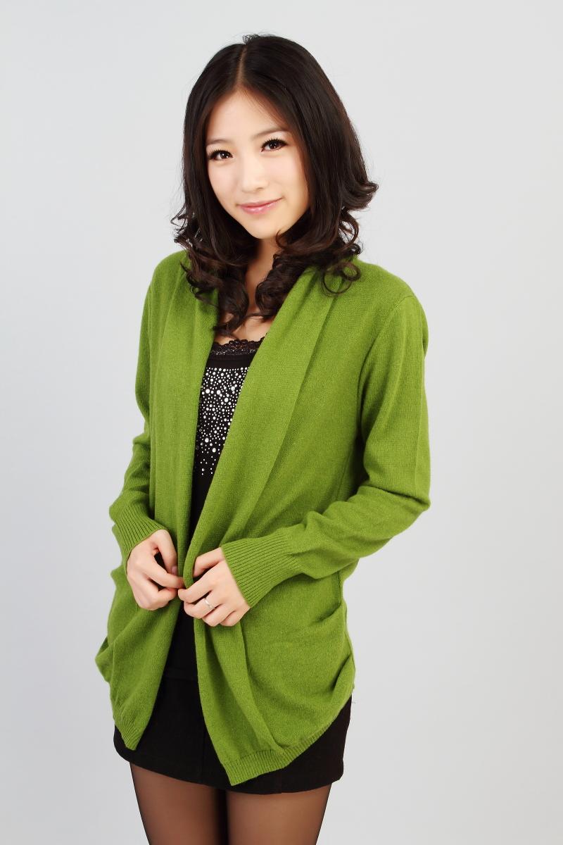 女式羊绒衫圆领开衫