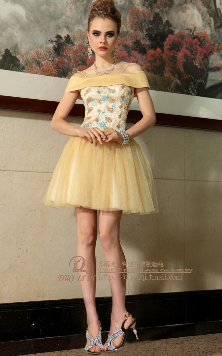 夏季新款一字肩吊带蓬蓬裙摆小礼服宴会舞会主持礼服批发裙图片