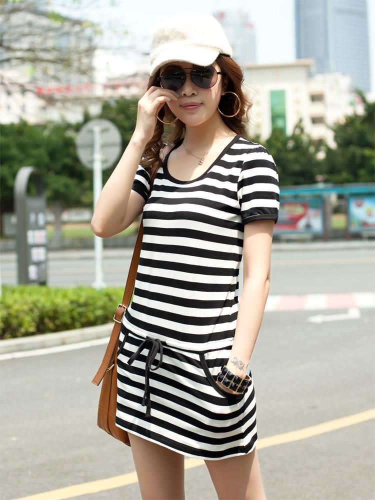2013夏季女大碼短袖連衣裙韓版修身純色雪紡百褶裙配皮帶