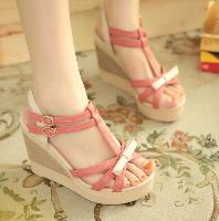 T型帶蝴蝶結裝飾露趾涼鞋