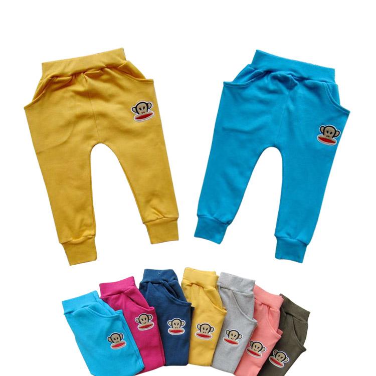 青岛童装批发 全棉猴子不起球儿童哈伦裤 秋季新款童裤