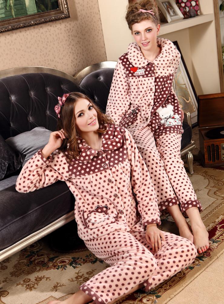 女式珊瑚绒可爱休闲波点保暖家居服珊瑚绒睡衣家居服