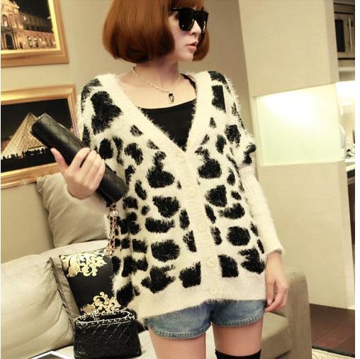 供应雪尔雅日韩女装韩版条纹马海毛针织开衫中长款外套毛衣