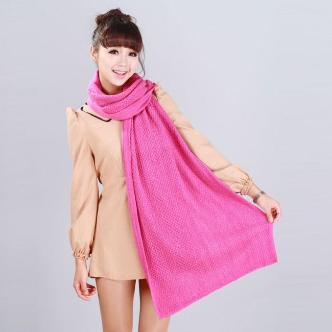 围益美围巾批发-花边平板毛线长围巾 西瓜红