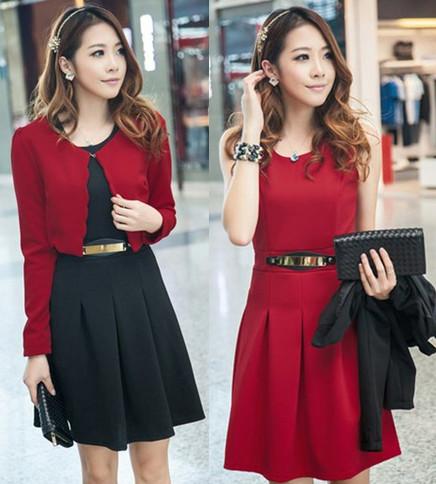 供应雪尔雅日韩女装2013秋装新款 修身甜美长袖小披肩背心裙两件套连衣裙