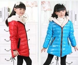2013新款外贸儿童装 女童高品质羊羔绒中长燕尾羽绒服 童装批发