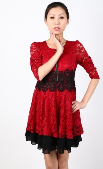 2014春季长袖镂空蕾丝红色连衣裙