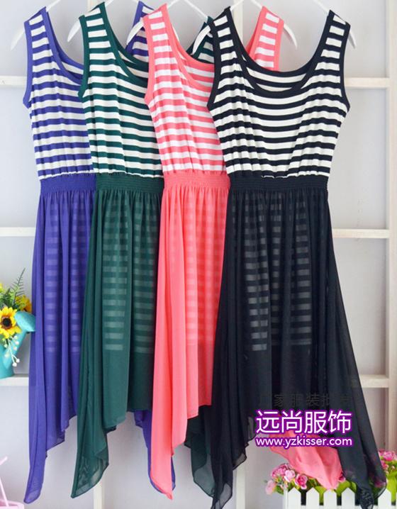 时尚的下摆宽松连衣裙批发市场今年流行长款夏季服装