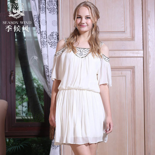 季候风白色连衣裙