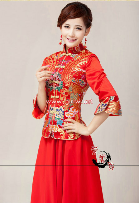 红色长款夏修身新娘旗袍