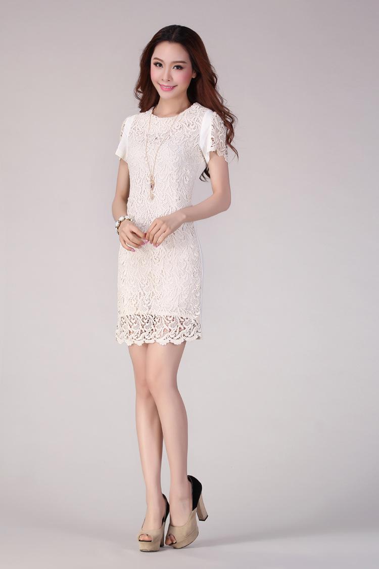 韩版OL通勤白领时尚修身显瘦刺绣包臀蕾丝连衣裙