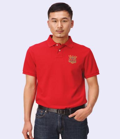 polo衫定做-经典两粒扣宽门筒精梳棉男士短袖polo衫