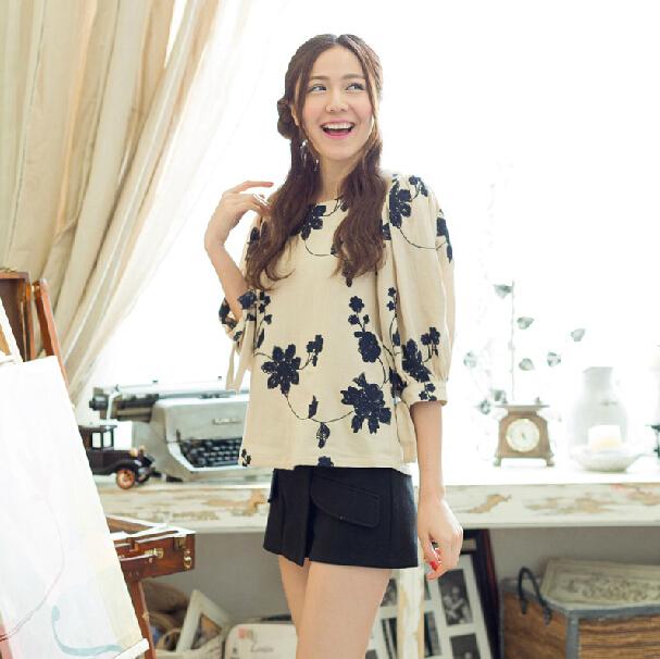 千姿惠春装新款宽松印花蝙蝠袖T恤女蝴蝶结袖口上衣