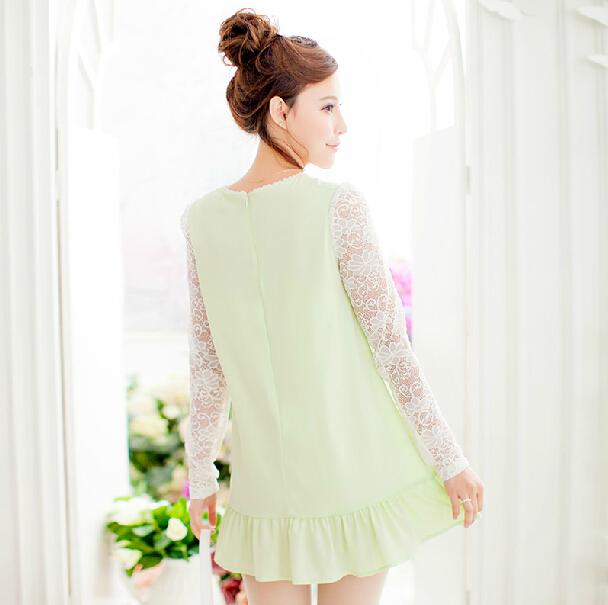 千姿惠日系甜美微透刺绣蕾丝圆领长袖荷叶边摆修身雪纺连衣裙