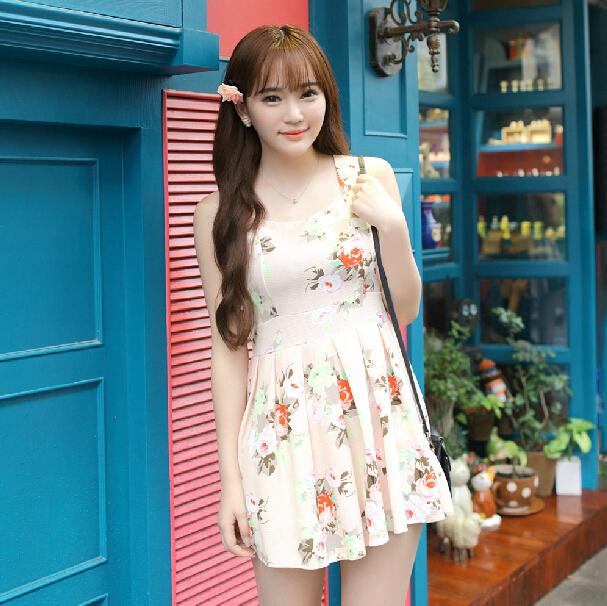 千姿惠韩版女装夏装时尚新款百搭高腰田园碎花无袖大摆连衣裙