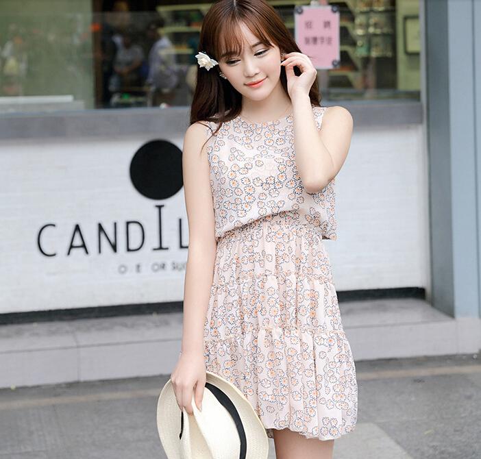 千姿惠韩版女装夏装时尚新款百搭背后系带碎花雪纺无袖连衣裙