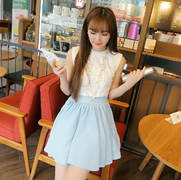 千姿惠韩版女装夏季时尚新款甜美百搭蕾丝拼接高腰雪纺半身裙