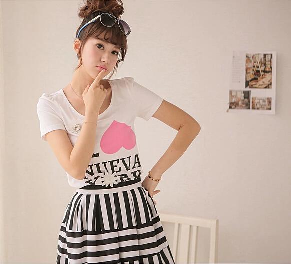 千姿惠新款女夏装字母印花大码t恤女短袖上衣韩版