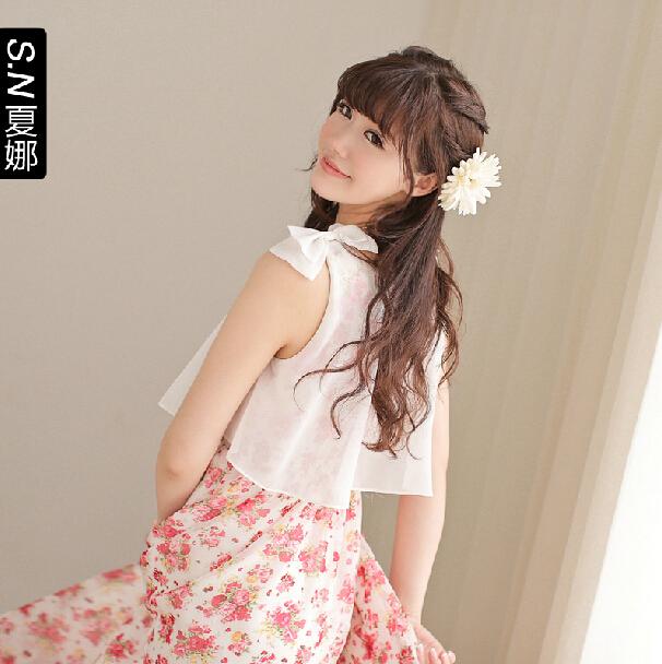 依莱雅蝴蝶结假两件波西米亚雪纺长裙