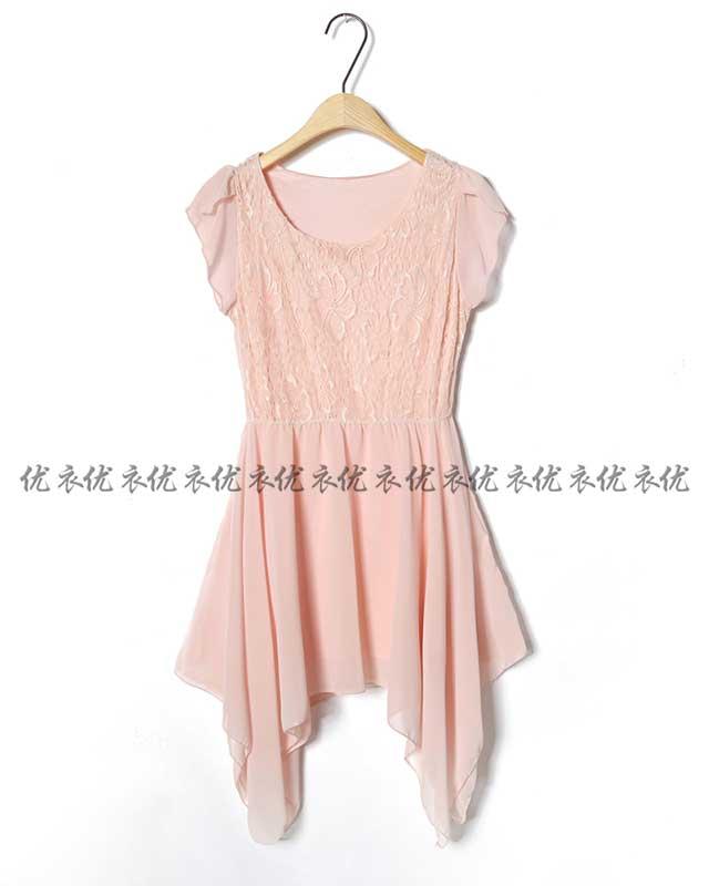 不规则下摆连衣裙批发配珍珠链连衣裙批发货到付款连衣裙批发
