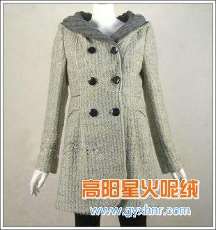 女式毛纺呢外套/星火麦穗呢时尚风衣面料
