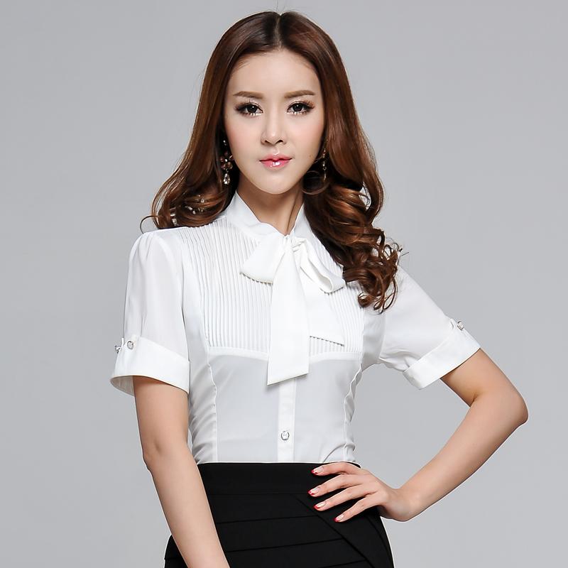 夏装新款韩版手工钉珠修身短袖纯色衬衫女士衬衣