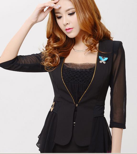 黑色女装春秋装收腰修身型小西装外套韩版新款修身小西装外套女