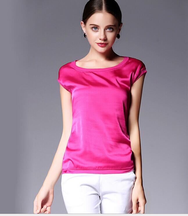 厂家直销欧美风品牌女装风真丝T恤打底衫