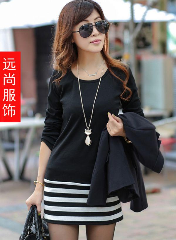 最便宜百搭纯棉条纹打底衫批发广东最低价的风衣批发