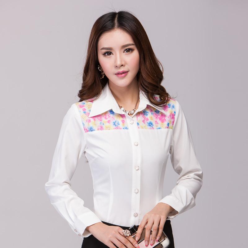 2014韩版秋季新款长袖蕾丝拼接衬衣印花时尚OL白领气质衬衫