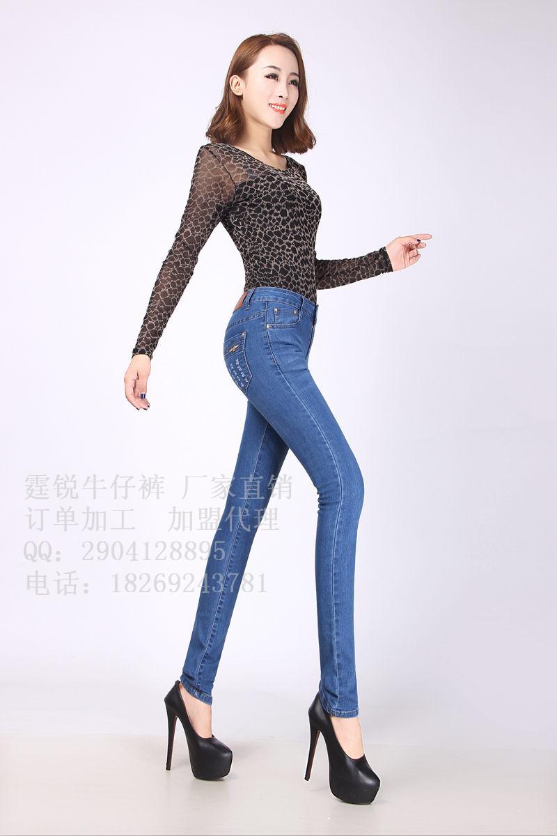 2014秋冬新款紧身弹力韩版修身显瘦小脚女牛仔裤铅笔长裤