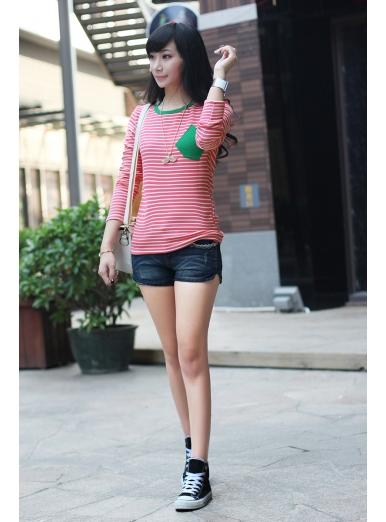 广东厂家便宜批发圆领条纹口袋款加厚不倒绒打底衫厂家直销