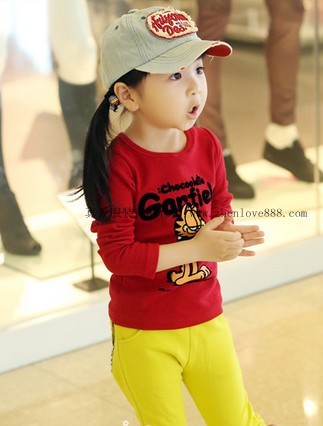 2014秋季新款韩版印花中小童长袖T恤批发尾货童装便宜批发