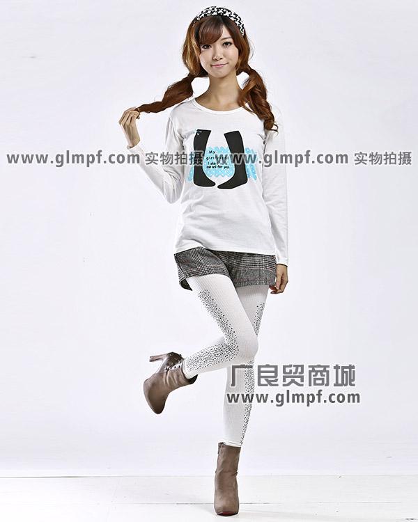 白色长袖女装T恤批发