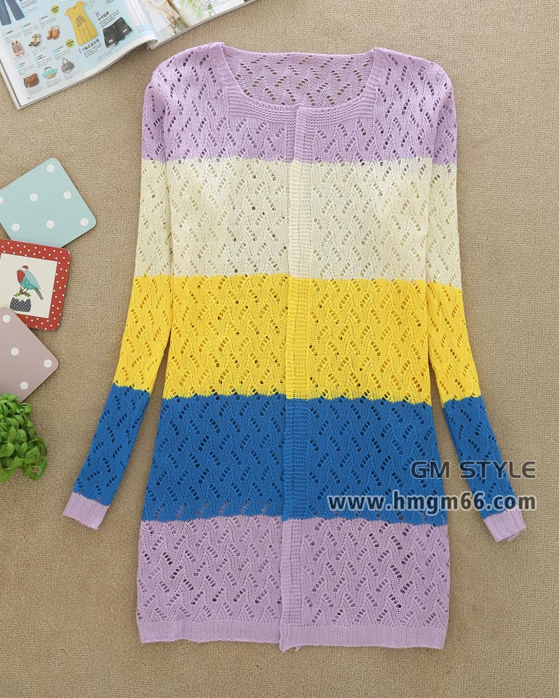 韩版时尚外套新款潮流镂空女式针织衫批发