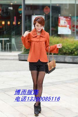 广州女士大衣冬季中长款时尚呢子大衣外套批发